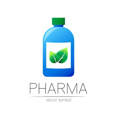 Pharmacy vector symbol with blue bottle and green leaf
