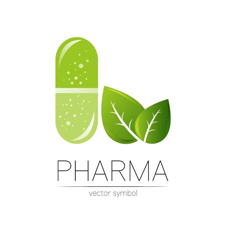 Pharmacy vector symbol with green leaf for pharmacist, pharma store, doctor and medicine.