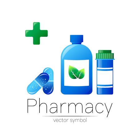 Pharmacy symbol with 2 blue pill bottle and tablet for pharmacist, pharma store, doctor and medicine. Illustration