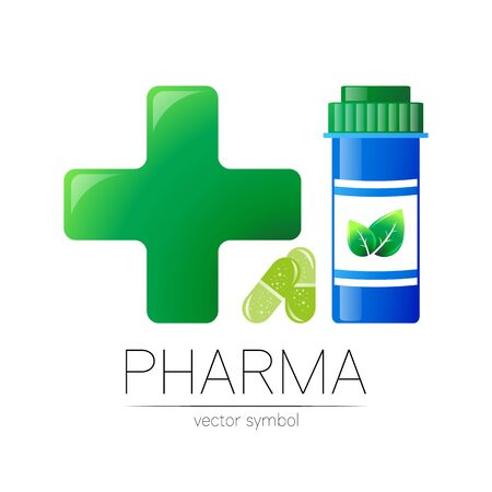 Pharmacy symbol with blue pill bottle and big green cross for pharmacist, pharma store, doctor and medicine.
