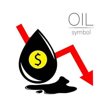 Vector sign of spot liquid oil. Statistics dollar down, global financial crisis. Black symbol petroleum isolated on white background. Industry of exploration Illustration