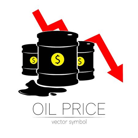 Vector sign of oil. Statistics dollar down, global financial crisis. Black symbol petroleum isolated on white background. Barrel silhouette and spot liguid. Industry of exploration, illustration. Illusztráció