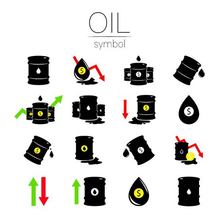 Vector set of 16 sign oil. Black symbol petroleum, dollar money, solated on white background. global financial crisis. Barrel silhouette and spot liguid. Industry of exploration, Petrochemical