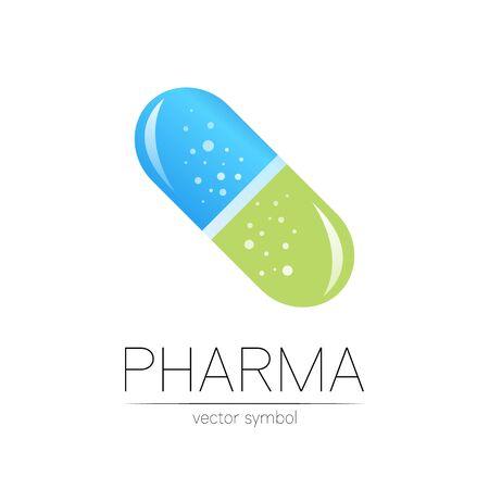 Pharmacy vector symbol for pharmacist, pharma store, doctor and medicine. Illustration