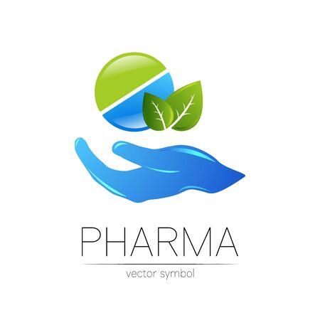 Pharmacy symbol with leaf for pharmacist, pharma store, doctor and medicine. Illusztráció