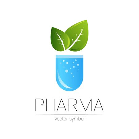 Pharmacy symbol with green leaf for pharmacist, pharma store, doctor and medicine.