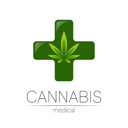 Cannabis icon for medicine and doctor. Medical marijuana symbol. Pharmaceuticals with plant and leaf for health. Concept sign of green herb. Green color on white. Cross icon.