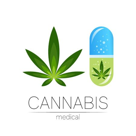 Cannabis in the tablet pill capsule icon for medicine and doctor. Illusztráció