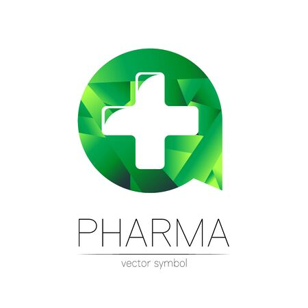 Pharmacy symbol with cross in green circle for pharmacist, pharma store, doctor and medicine.