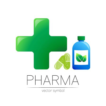 Pharmacy symbol with blue bottle and green cross in circle, leaf, for pharmacist, pharma store, doctor and medicine.