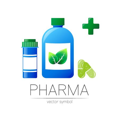 Pharmacy symbol with 2 blue pill bottles and cross, capsule tablet for pharmacist, pharma store, doctor and medicine.