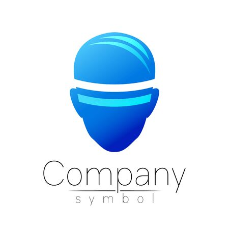 symbol of human head. Person face. Blue color isolated on white. Concept sign for business, science, psychology, medicine, VR, technology. Creative sign design Man silhouette. Modern logo. Illustration
