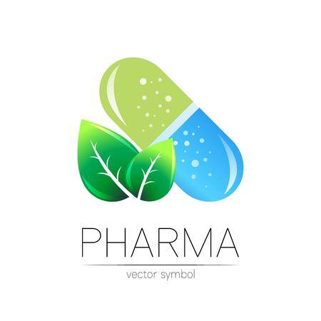 Pharmacy vector symbol with green leaf for pharmacist, pharma store, doctor and medicine. Modern design vector  on white background. Pharmaceutical blue icon vtablet pill capsule. Health