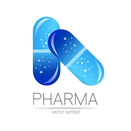 Pharmacy vector symbol for pharmacist, pharma store, doctor and medicine. Modern design vector logo on white background. 2 Pharmaceutical blue icon logotype tablet pill capsule. People health industry