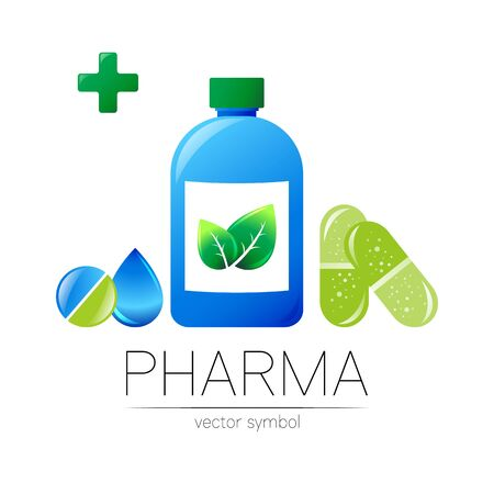 Pharmacy vector symbol with blue bottle and cross, green leaf and drop, pill capsule tablet for pharmacist, pharma store, doctor medicine. Modern design on white. Pharmaceutical icon