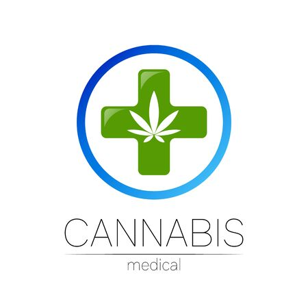 Cannabis vector  for medicine and doctor. Medical marijuana symbol. Pharmaceuticals with plant and leaf for health. Concept sign of green herb. Green color cross on white. Blue circle