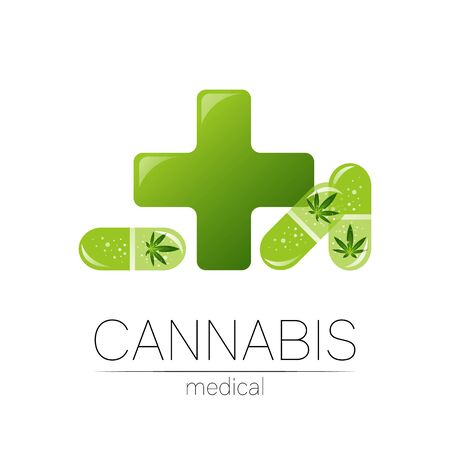 Green Cannabis in the tablet pill capsule with cross vector  for medicine and doctor. Medical marijuana symbol. Pharmaceuticals with plant and leaf for health. Concept sign of green herb. Ilustração