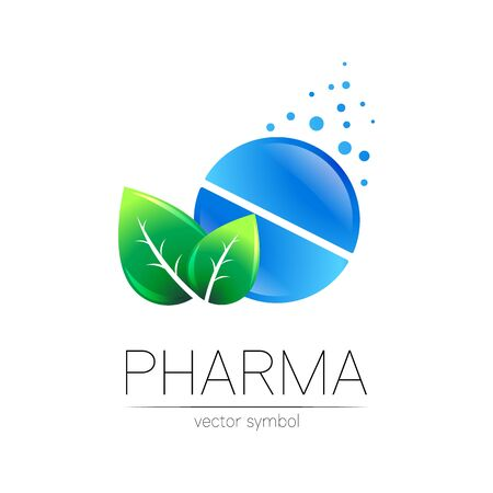 Pharmacy vector symbol with green leaf for pharmacist, pharma store, doctor and medicine. Modern design vector on white background. Pharmaceutical blue icon tablet pill . Health Illustration
