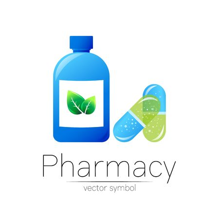 Pharmacy vector symbol with blue bottle and green leaf, pill capsule for pharmacist, pharma store, doctor and medicine. Modern design  on white background. Pharmaceutical icon  . Health Illustration