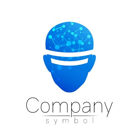 Vector symbol of human head. Person face. Blue color isolated on white. Concept sign for business, science, psychology, medicine, VR, technology. Creative sign design Man silhouette.