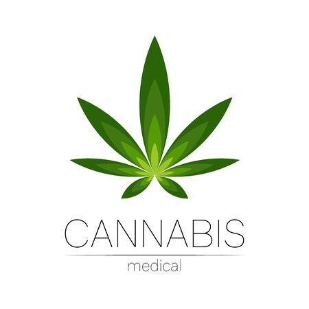 Cannabis vector  for medicine and doctor. Medical marijuana symbol. Pharmaceuticals with plant and leaf for health. Concept sign of green herb. Green color on white.
