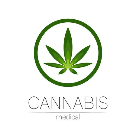 Cannabis vector  for medicine and doctor. Medical marijuana symbol. Pharmaceuticals with plant and leaf for health. Concept sign of green herb. Green color circle on white Illustration
