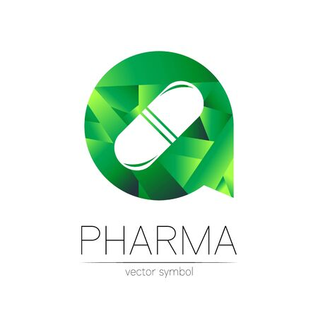 Pharmacy vector symbol for pharmacist, pharma store, doctor and medicine. Modern design vector  on white background. Pharmaceutical green icon  tablet pill capsule. People health industry
