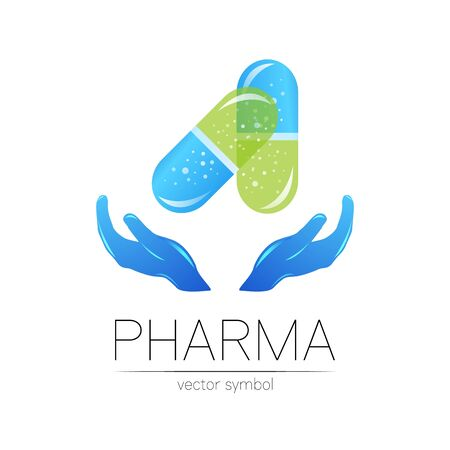 Pharmacy vector symbol with hands for pharmacist, pharma store, doctor and medicine. Modern design vector  on white background. Pharmaceutical blue icon  tablet pill capsule with hand
