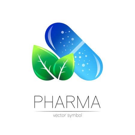 Pharmacy vector symbol with green leaf for pharmacist, pharma store, doctor and medicine. Modern design vector logo on white background. Pharmaceutical blue icon logotype tablet pill capsule. Health 일러스트