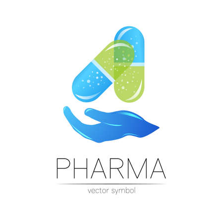 Pharmacy vector symbol with hand for pharmacist, pharma store, doctor and medicine. Modern design vector logo on white background. Pharmaceutical blue icon logotype tablet pill capsule with hand 일러스트