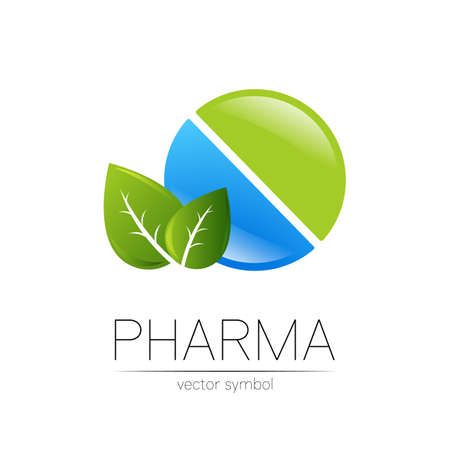 Pharmacy vector symbol with leaf for pharmacist, pharma store, doctor and medicine. Modern design vector logo on white background. Pharmaceutical blue green icon logotype tablet pill . Health 일러스트