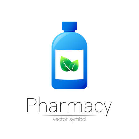 Pharmacy vector symbol with blue bottle and green leaf for pharmacist, pharma store, doctor and medicine. Modern design vector logo on white background. Pharmaceutical icon logotype . Human Health