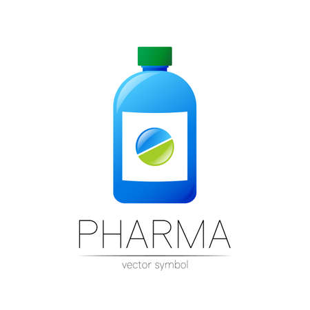 Pharmacy vector symbol with blue bottle and green pill tablet for pharmacist, pharma store, doctor and medicine. Modern design vector logo on white background. Pharmaceutical icon logotype . Health
