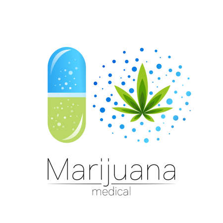 Cannabis in the tablet pill capsule vector logotype for medicine and doctor. Medical marijuana symbol. Pharmaceuticals with plant and leaf for health. Concept sign of green herb. Green on white. 일러스트