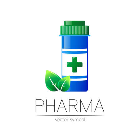 Pharmacy vector symbol with blue pill bottle and green leaf for pharmacist, pharma store, doctor and medicine. Modern design vector logo on white background. Pharmaceutical icon logotype . Health