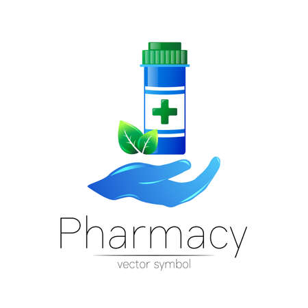 Pharmacy vector symbol with blue pill bottle in hand and cross for pharmacist, pharma store, doctor and medicine. Modern design logo on white background. Pharmaceutical icon logotype . Health