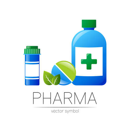 Pharmacy vector symbol with 2 blue pill bottle and tablet for pharmacist, pharma store, doctor and medicine. Modern design vector logo on white background. Pharmaceutical icon logotype . Health 일러스트