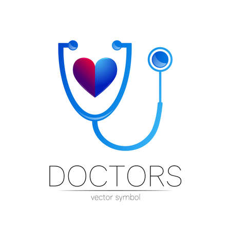Stethoscope and human heart vector logotype in blue color. Medical symbol for doctor, clinic, hospital and diagnostic. Modern concept for logo or identity style. Sign of health. Isolated on white