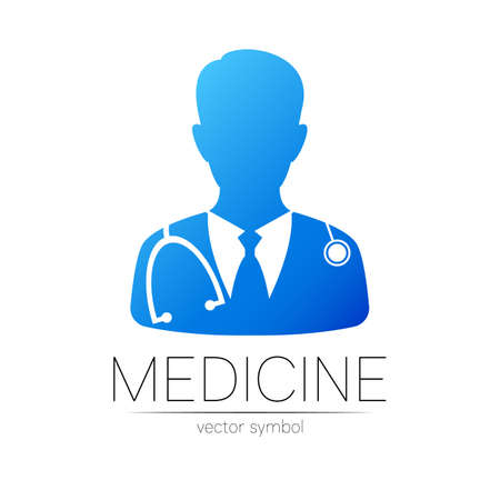 Doctor vector logotype in blue color. Silhouette medical man. Logo for clinic, hospital, health, medicine and business. Concept isolated on white background. Template for web, identity modern style