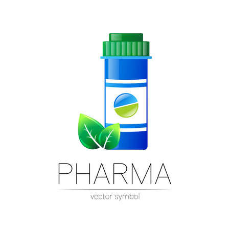 Pharmacy vector symbol with blue pill bottle and tablet, leaf for pharmacist, pharma store, doctor and medicine. Modern design vector logo on white background. Pharmaceutical icon logotype . Health.