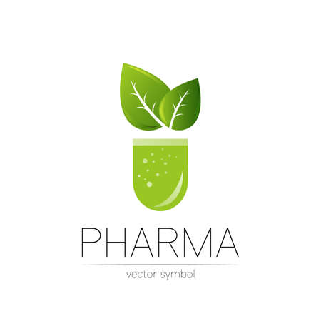 Pharmacy vector symbol with green leaf for pharmacist, pharma store, doctor and medicine. Modern design vector logo on white background. Pharmaceutical icon logotype tablet pill capsule. Health.