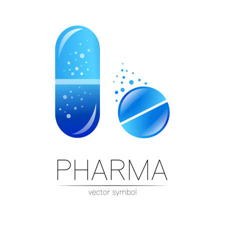 Pharmacy vector symbol for pharmacist, pharma store, doctor and medicine. Modern design vector logo on white background. Pharmaceutical blue icon logotype tablet pill and capsule. People health. 일러스트
