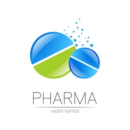 2 Pharmacy vector symbol for pharmacist, pharma store, doctor and medicine. Modern design vector logo on white background. Pharmaceutical blue green icon logotype tablet pill . People health industry. 일러스트