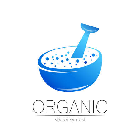 Vector mortar and pestle blue symbol logo. Ecology icon concept for medicine, vegetarian, therapy, pharmacology and business. Organic sign illustration. Modern logotype or label 向量圖像