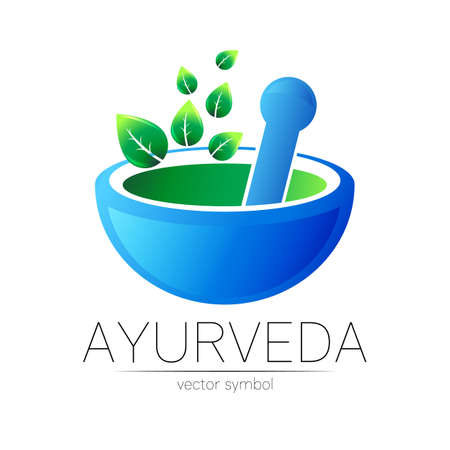 Ayurvedic Creative vector logotype or symbol. Mortar and pestle concept for business, medicine, therapy, pharmacy. Herbal ayurveda Logo Design for label. Simple bowl and leaves