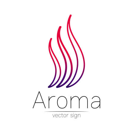 Aroma creative art vector symbol. Perfume element, smoke cigarette hot, vapor and cloud icon. Modern design element of logo for website or app, business, store, shop