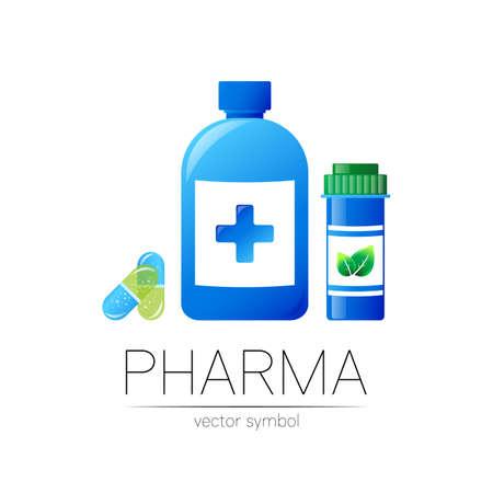 Pharmacy vector symbol with 2 blue pill bottles and cross, capsule tablet for pharmacist, pharma store, doctor and medicine. Modern design logo on white. Pharmaceutical icon logotype . Human health.