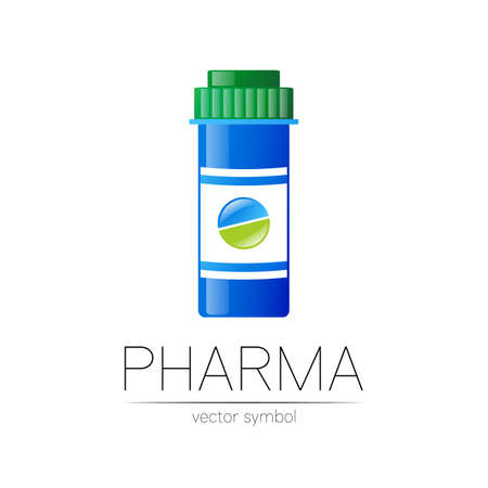 Pharmacy vector symbol with blue pill bottle and tablet for pharmacist, pharma store, doctor and medicine. Modern design vector logo on white background. Pharmaceutical icon logotype . Health.