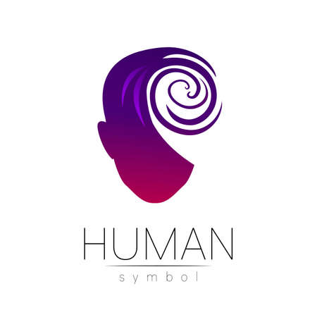 Vector symbol of human head. Person face. Red violet color isolated on white. Concept sign for business, science, psychology, medicine, technology. Creative sign design Man silhouette. Modern logo. 일러스트