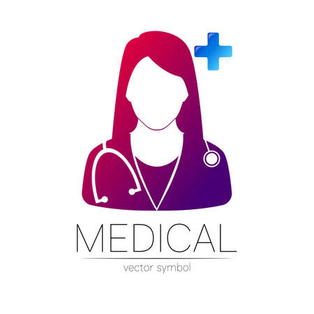 Female doctor and cross vector logotype. Medicine identity and concept. Logo for clinic, medical, pharmacy, online chat, business, health care. Silhouette in violet, blue gradient color on white